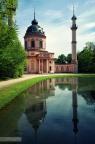 Speigelung Rote Moschee im Schlossgarten Schwetzingen