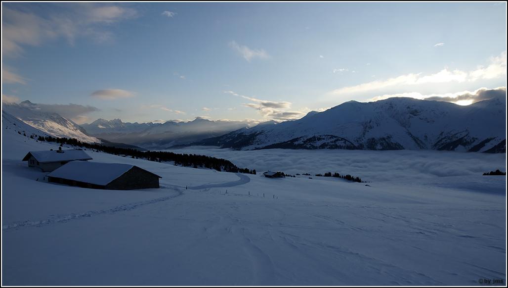 Winterlandschaft - bald ist Nacht