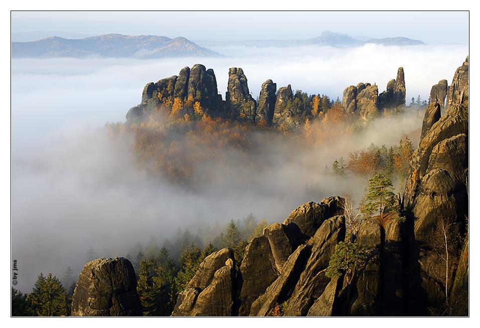 Sächsische Schweiz - Schrammsteine bei Nebel